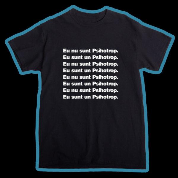 """Tricou negru, personalizat cu """"Psihotrop"""" pentru băieţi"""