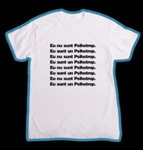 """Tricou alb, personalizat cu """"Psihotrop"""" pentru baieti"""