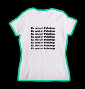 """Tricou alb, personalizat cu """"Psihotrop"""" pentru fete"""